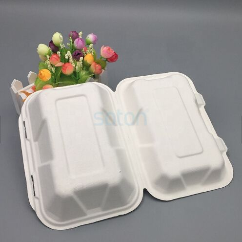 sugarcane clamshell pulp packing fast food burger lunch box